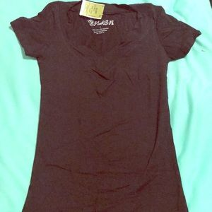 Black Short Sleeve V Neck New With Tags